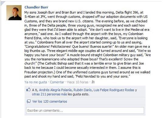 sobre el caso de adopción del periodista Chandler Burr en Colombia