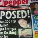 """Portada del periódico Red Pepper de Uganda que """"denunciaba"""" a personas homosexuales."""