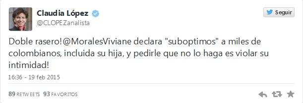 Trino de Claudia Lopez sobre Viviane Morales