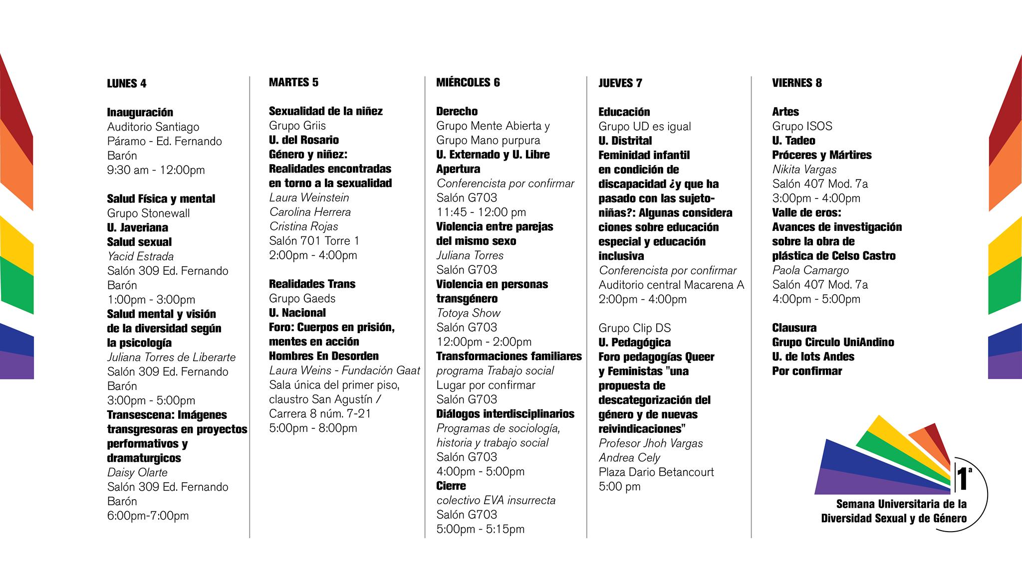 programacion semana de la diversidad universitaria 2015