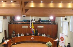 Magistrados de la Corte Constitucional durante la audiencia pública sobre matrimonio igualitario que tuvo lugar el 30 de julio de 2015.