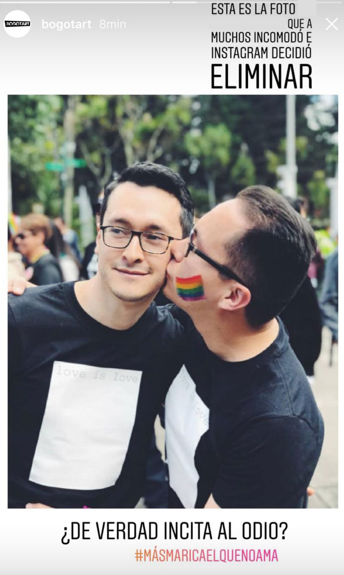 El beso entre dos hombres que Instagram eliminó